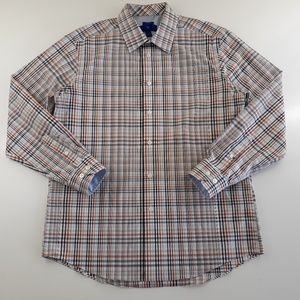 Egara Mens Size L Non-Iron Plaid Dress Shirt MINT